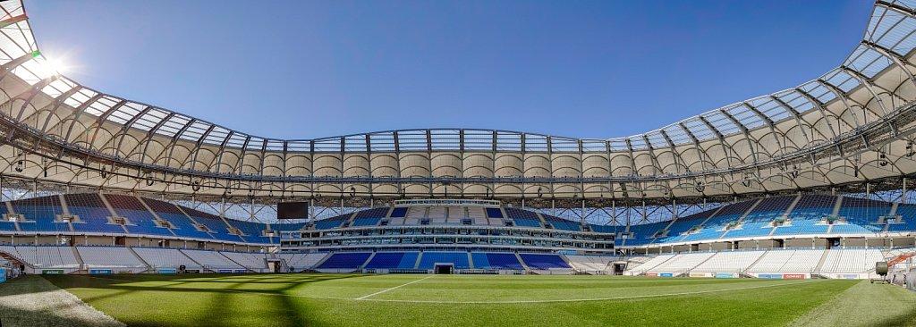 Футбольный стадион Волгоград Арена. Панорама футбольного поля